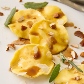 Ravioli with Balsamic &amp; Almonds