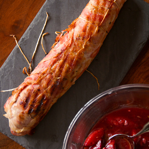 ... Pancetta-Wrapped Pork Tenderloin with Plum Chutney - SippitySup