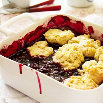 Peach Berry Cobbler With Sour Cream Biscuits Recipes — Dishmaps