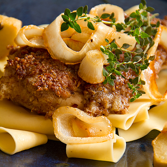 Pecan-Crusted Chicken with Roasted Apples and Maple-Bourbon Gravy ...
