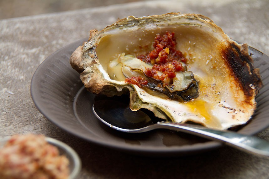 Grilled Oysters with Chorizo Butter: Tomales Bay, CA