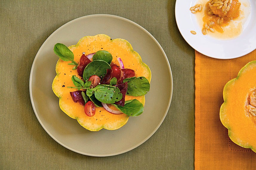 Zatta Melons Bowls with Watercress and Prosciutto