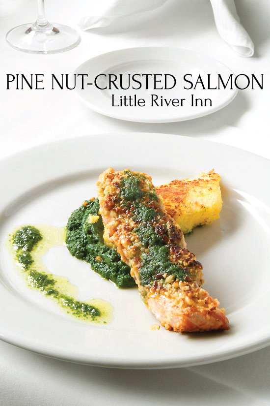 Pine Nut Crusted Salmon , Dining at Little River Inn, Mendocino CA