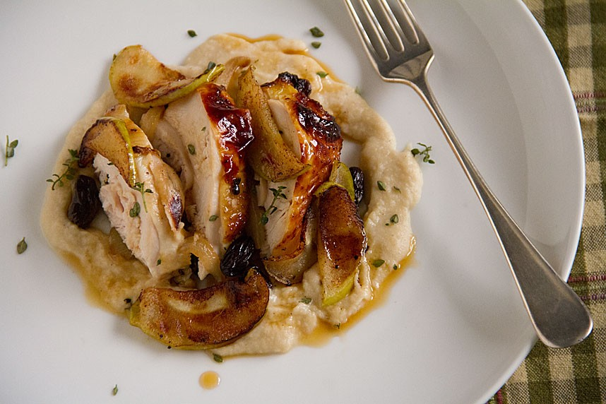 ... -Glazed Chicken Breasts with Apple-Potato Purée & Sautéed Apples