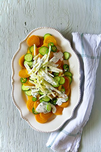 Roasted Golden Beets with Dill-and-Chive Yogurt Dressing