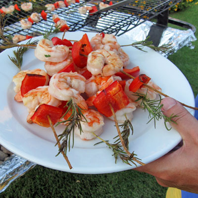 rosemary skewered shrimp