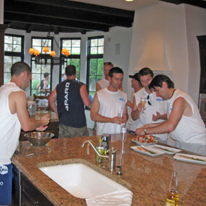 working in the kitchen at the Palm Springs Three-Way