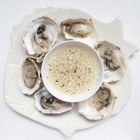 Freshly Shucked Oysters with Asian Pear Mignonette