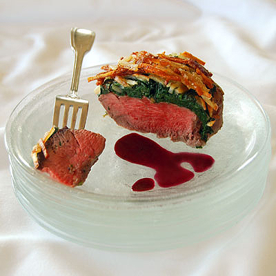 Potato Crusted Filet Mignon with Arugula & Pomegranate Sauce ...