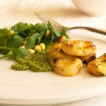 Grilled Squid with Miner&#039;s Lettuce Salad &amp; Mint, Parsley, Anchovy Pesto