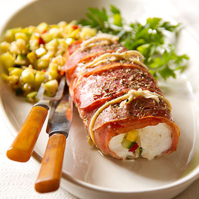 SippitySup Prosciutto- Wrapped Halibut with Summer Squash - SippitySup