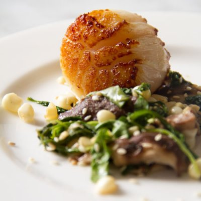 Seared Jumbo Sea Scallops with Wilted Arugula, Corn, Shiitake Salad &amp; Soy Ginger