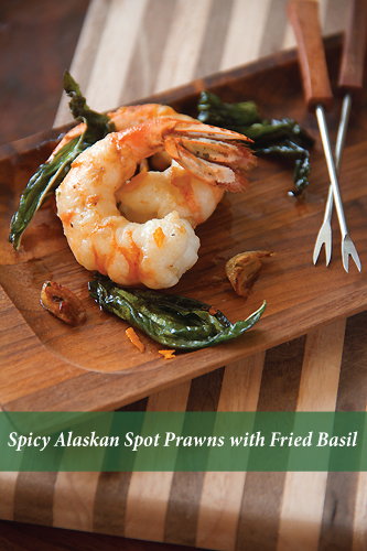 Spicy Alaskan Spot Prawns with Fried Basil