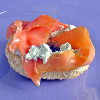 blagels with cream cheese and lox