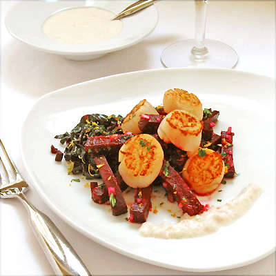 Seared Scallops with Roasted Beets, Sauteed Greens &amp; Horseradish Cream