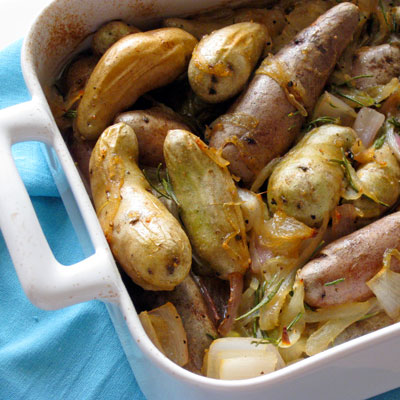 Braised Potatoes with Rosemary and Shallots - SippitySup