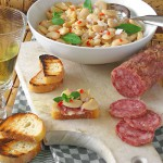 Butter Bean Crostini with Mint and Salami