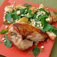 grilled chicken with raw corn salad