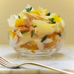 roast chicken salad with bell pepper and lemon
