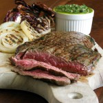 Chimichurri Flank Steak with Grilled Radicchio and Onions