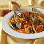 Chorizo &amp; Clam Stuffed Pasta Shells in Cioppino Sauce