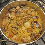 Spaghetti with Clams, Cipollini Onions, Garlic & Colatura di Alici