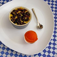 Corn Brulee and Tomato Sorbet