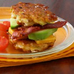 Corn &amp; Zucchini Fritter Stacks with Bacon and Avocado