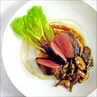 Pan-seared duck breast with herbed honey and mushrooms