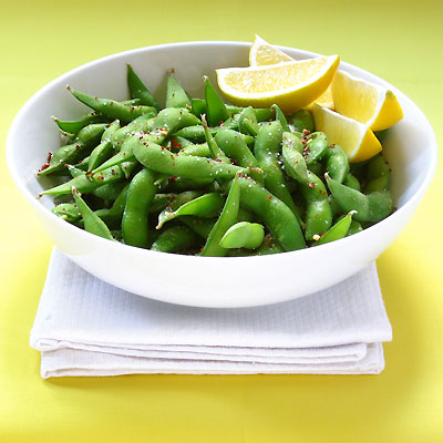 spicy edamame with lemon