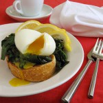 Soft Boiled Eggs with Red Spinach on Toast