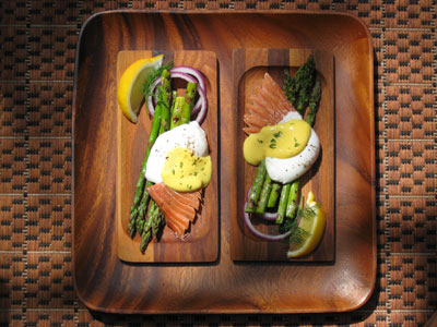 Poached Eggs with Grilled Asparagus, Soked Salomon and Mustard Suace