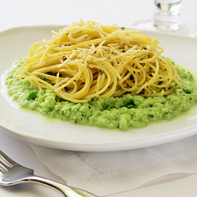 Spaghetti with Fava Bean Puree & Ragusano Cheese