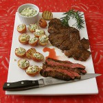 Worcestershire Grilled Skirt Steak with Blue Cheese Potatoes