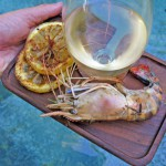 Garlic Parmesan Prawns with grilled lemons slices