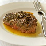 reen Peppercorn Filet of Beef with Pear Vinegar Pan Sauce
