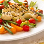 Grilled Cauliflower Steak with Green Bean &amp; Tomato Salad