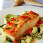 Crispy Halibut with Lemony Basil Sauce