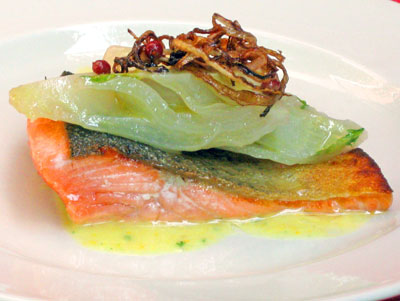 arctic car fillet with fennel and citrus suace
