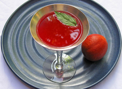 thai basil blood orange cocktail martini on plate