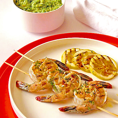 Grilled Brined Shrimp Skewers with Tomatillo & Avocado Salsa