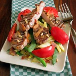 Grilled Lamb Chops, Heirloom Beans & Tomatoes with Bacon Vinaigrette