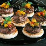 lamb burgers topped with mango salsa