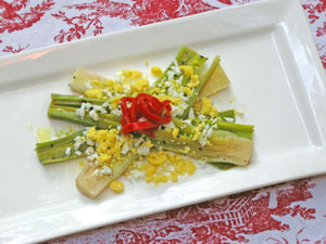 Chilled Leeks in Vinaigrette with Eggs Mimosa