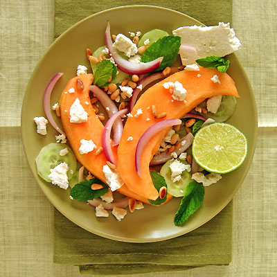 Melon and Cucumber Salad with Feta Cheese