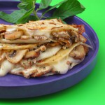 Quesadillas stuffed with mushrooms and goat cheese