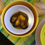 Mussels (moules) in Saffron and Mustard Broth