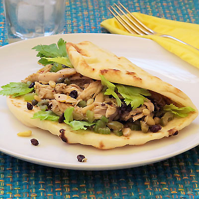 Chicken Naanwich with Saffron, Capers and Raisins