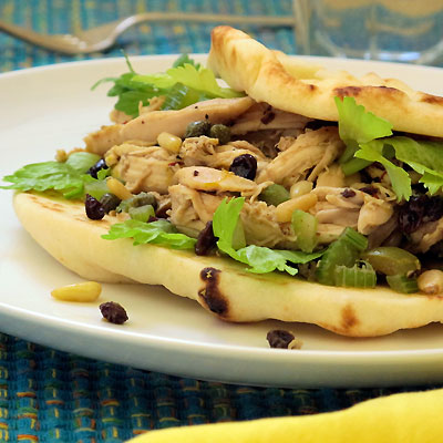 Naanwich a sandwich with naan and chicken