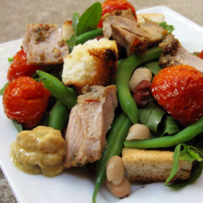 Three Bean Winter Panzanella Salad with Preserved Tuna